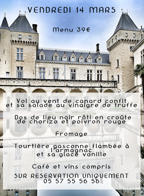 <center>Confort Table Vendredi 14 Mars <br>Menu à 39€</center>