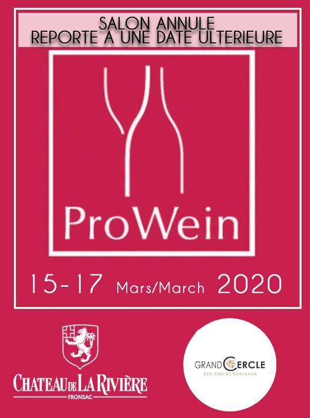 <center>Les 15, 16 et 17 mars 2020 Prowein Dusseldorf – Grand Cercle</center>