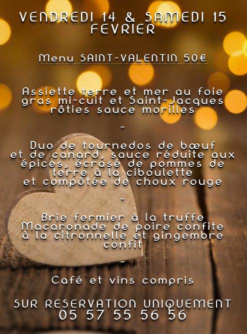 ♥ Saint-Valentin ♥ Confort Table Vendredi 14 & Samedi 15 Février -> Menu à 50€