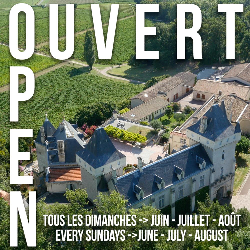 <center>Ouverture les Dimanches <br> en Juin, Juillet & Août</center>